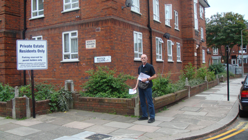 Nigel Haselden delivering leaflets on Nelsons Row