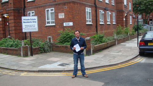 Christopher delivering leaflets on Nelson Row